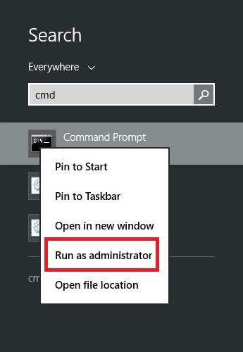 CMD run as Administrator