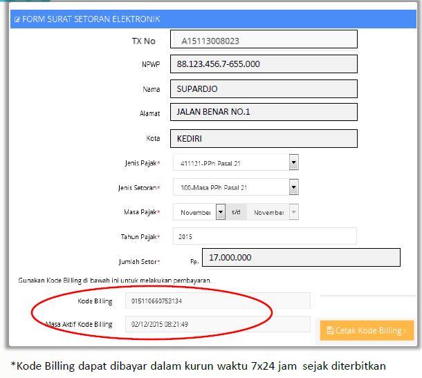Cetak kode billing