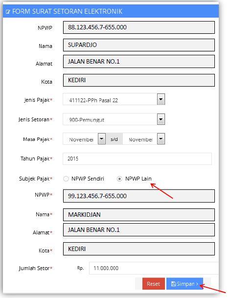 kode billing dengan NPWP lain