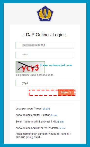 Proses Login DJP Online