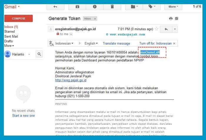 cek Email dan copy nomor token